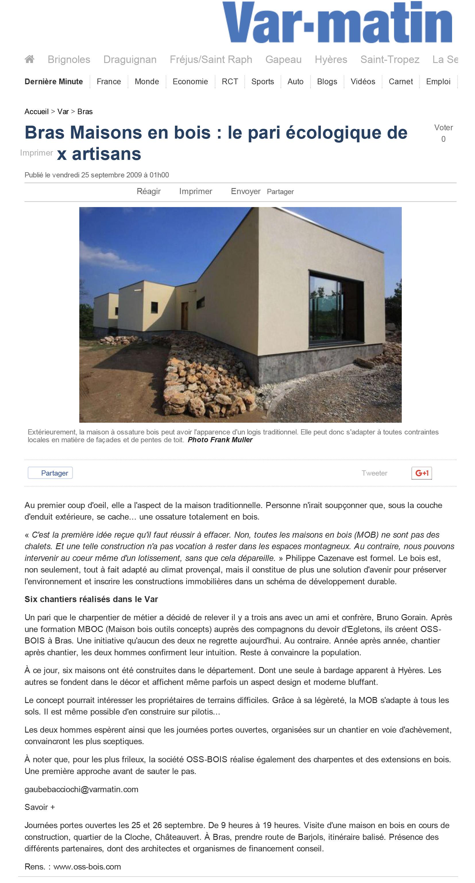 Bras Maisons en bois _ le pari écologique de deux artisans _ Bras _ Var-Matin 3
