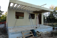 maison ossature bois avec terrasse en bardage red cedar menuiserie aluminium